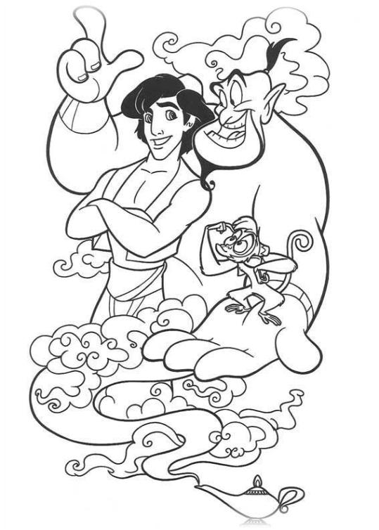 Ausmalbilder Zum Drucken Malvorlage Aladdin Kostenlos 2