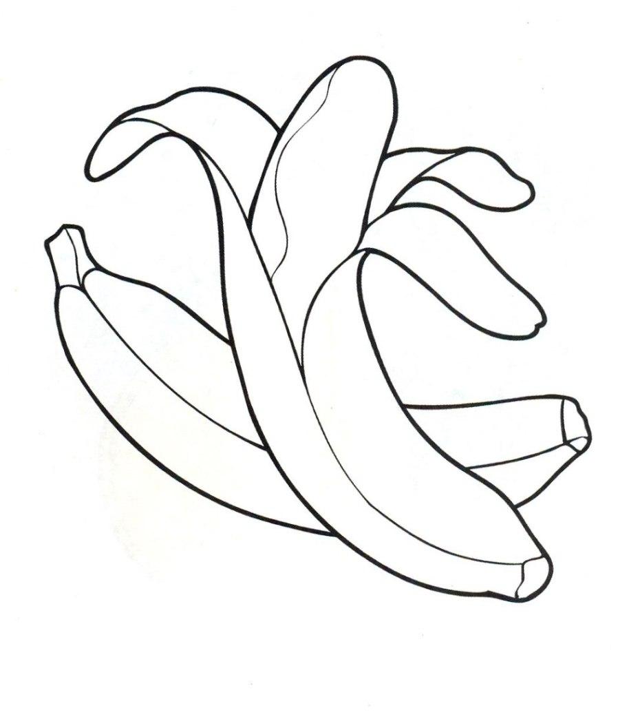 Ausmalbilder zum Drucken Malvorlage Banane kostenlos 1