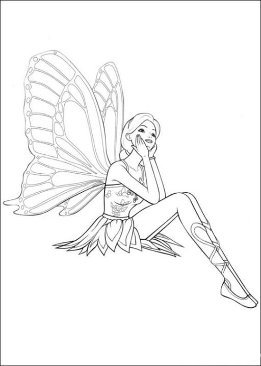ausmalbilder zum drucken malvorlage barbie mariposa