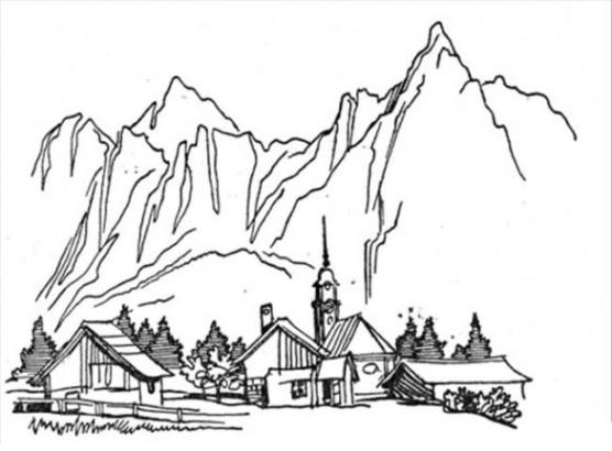 Ausmalbilder zum Drucken Malvorlage Berg Gebirge kostenlos 1
