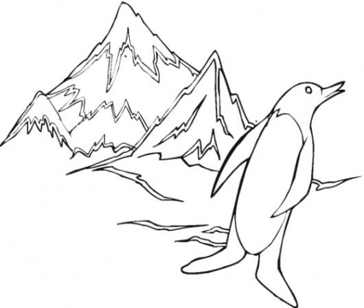 Ausmalbilder zum Drucken Malvorlage Berg Gebirge kostenlos 3