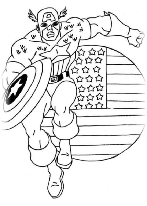 Ausmalbilder Zum Drucken Malvorlage Captain America Kostenlos 3