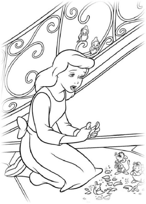 Ausmalbilder zum Drucken Malvorlage Cinderella kostenlos 1