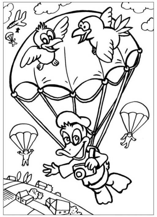Ausmalbilder zum Drucken Malvorlage Fallschirm kostenlos 1