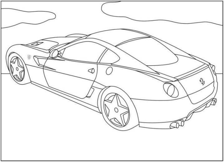 Ausmalbilder Zum Drucken Malvorlage Ferrari Kostenlos 1