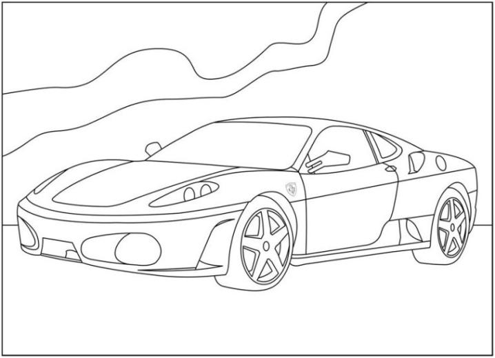Ausmalbilder Zum Drucken Malvorlage Ferrari Kostenlos 2