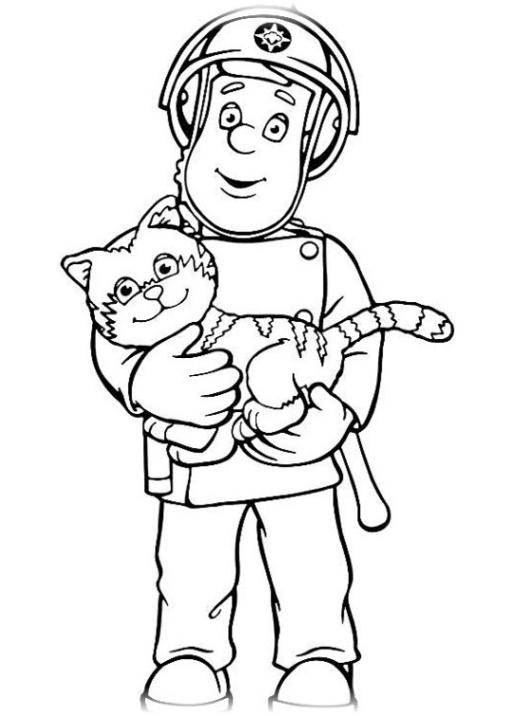 Ausmalbilder zum Drucken Malvorlage Feuerwehrmann Sam kostenlos 1