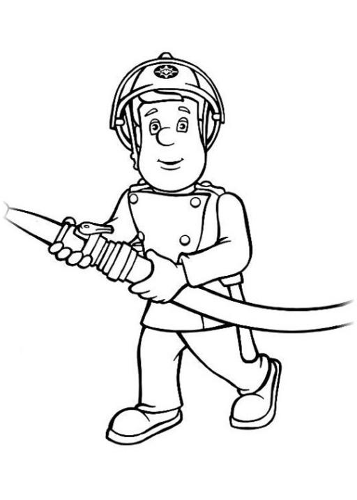 Ausmalbilder zum Drucken Malvorlage Feuerwehrmann Sam kostenlos 2