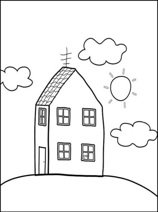 Ausmalbilder zum Drucken Malvorlage Haus kostenlos 3