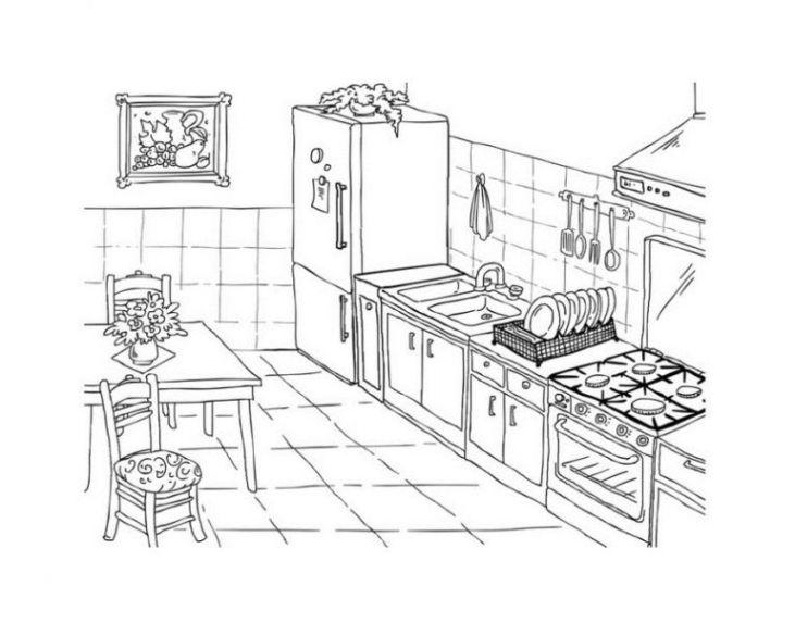 Ausmalbilder Küche Zum Ausdrucken: Ausmalbilder Zum Drucken Malvorlage Küche Kostenlos 1