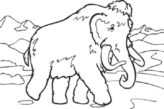 Malvorlage Mammut kostenlos 1