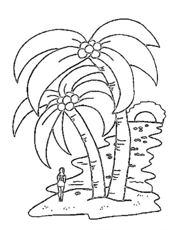 Ausmalbilder zum Drucken Malvorlage Palme kostenlos 4