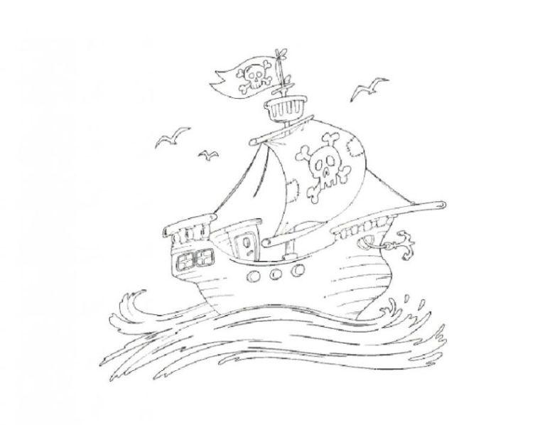 Ausmalbilder Zum Drucken Malvorlage Piratenschiff Kostenlos 3