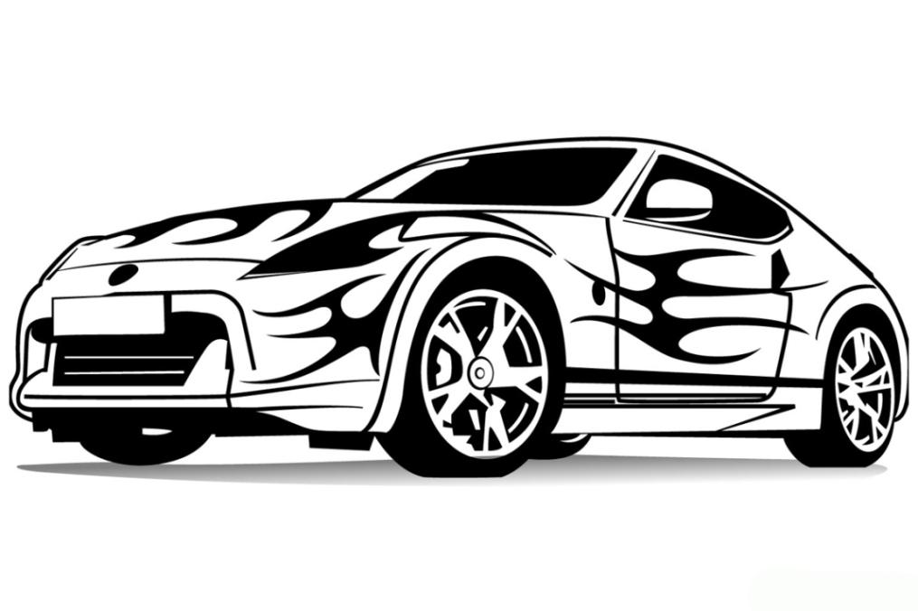 Ausmalbilder zum Drucken Malvorlage Sportwagen kostenlos 1