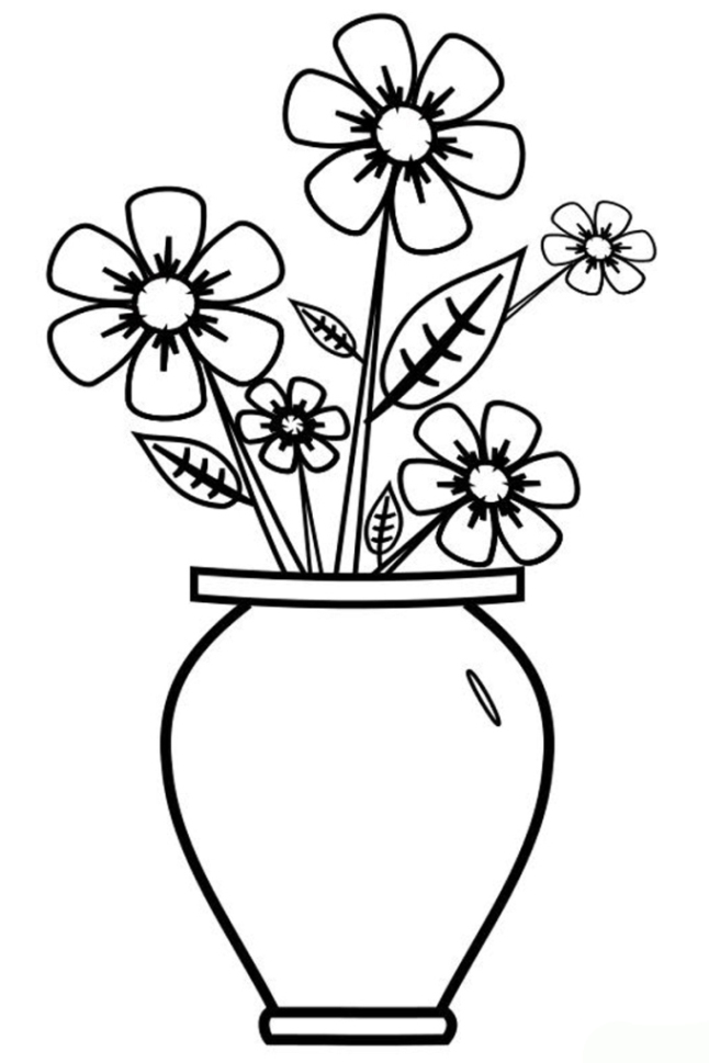 Ausmalbilder Zum Drucken Malvorlage Vase Mit Blumen Kostenlos 2