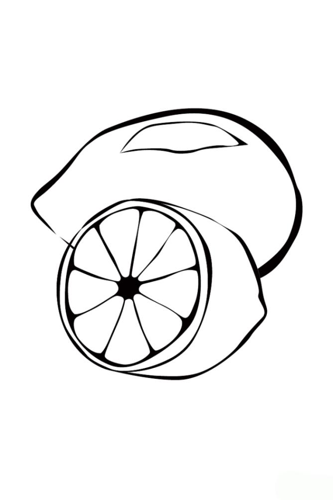 Ausmalbilder zum Drucken Malvorlage Zitrone kostenlos 1